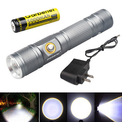 Tactical ZOOM 50000Lumens T6 3Modes LED Powerful 18650 Flashlight Torch Light