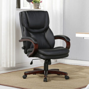 Executive Desk Chair Black Leather W Wood Adjule Back Lumbar Support Office