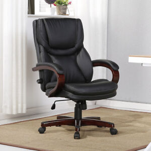Merveilleux Executive Desk Chair Black Leather W/Wood Adjustable Back Lumbar Support  Office