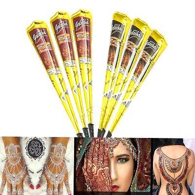 6x Golecha Henna Tattoo Paste 3 Schwarz 3 Rotbraun Klinisch getestet Mehndi 150g