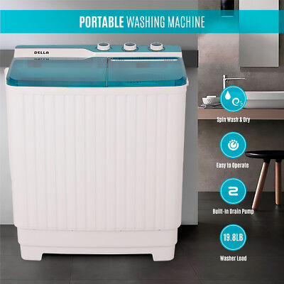Transportable Compact Twin Washing Machine Washer Spin & Dry Cycle 9KG w/ DRAIN PUMP