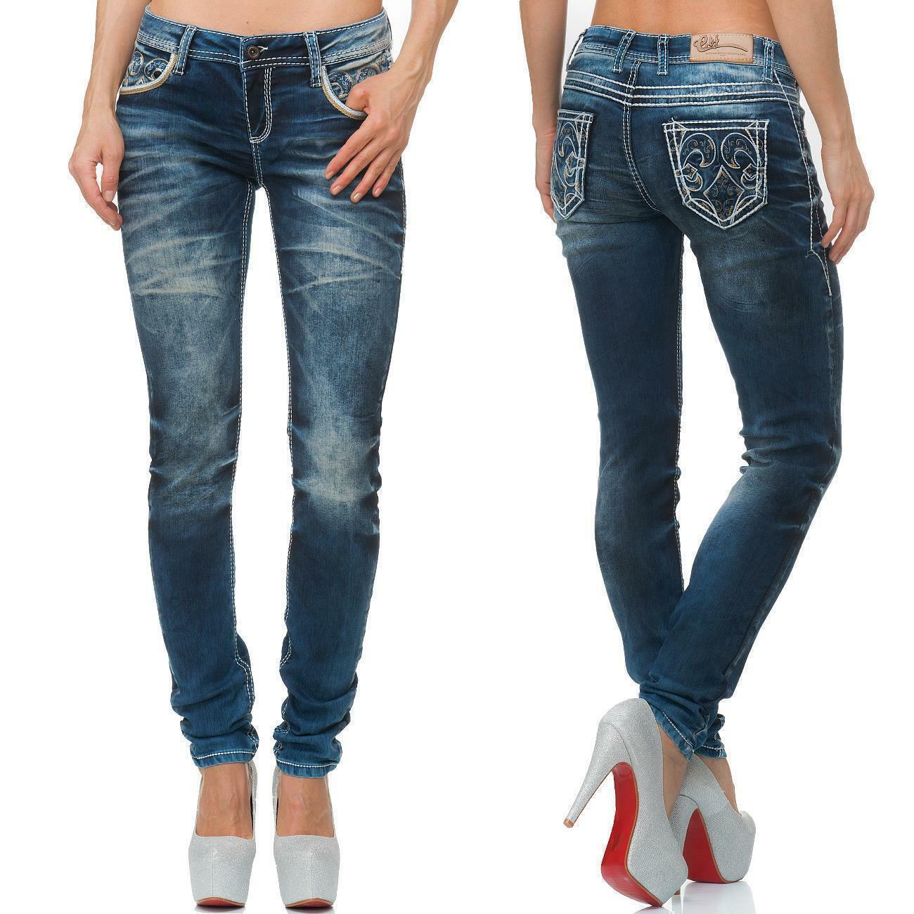 Cipo /& Baxx Damen Regular-Fit Jeans Freizeit Hose Casual Style Denim bequem