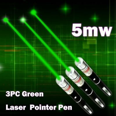 3PCS MILITARY High Power Green Laser Pointer Pen 5MW 532nm Beam Light Visible US