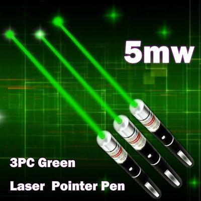 3pcs Military High Power Green Laser Pointer Pen 5mw 532nm Beam Light Visible Us