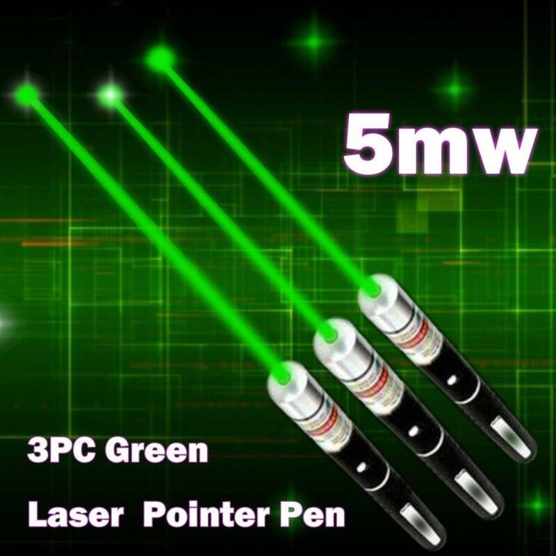 3PCS MILITARY High Power Green Laser Pointer Pen 5 MW 532nm Beam Light Visible