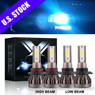 4PCS 9005+9006 Mini LED Headlight 8000K Ice Blue High Low Beam Bulb 240W 52000LM
