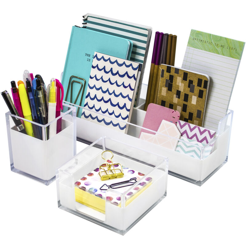 Acrylic Desk Organizers Set – 3-Piece, Includes Desk Organizer Caddy Memo Tray