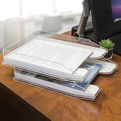 Sorbus Acrylic Desk Organizer Stackable Desktop File Folder Magazine Holder