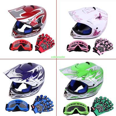 DOT Youth Dirt Bike ATV Motocross Helmet Goggles With Gloves 4 Colors 3 Sizes