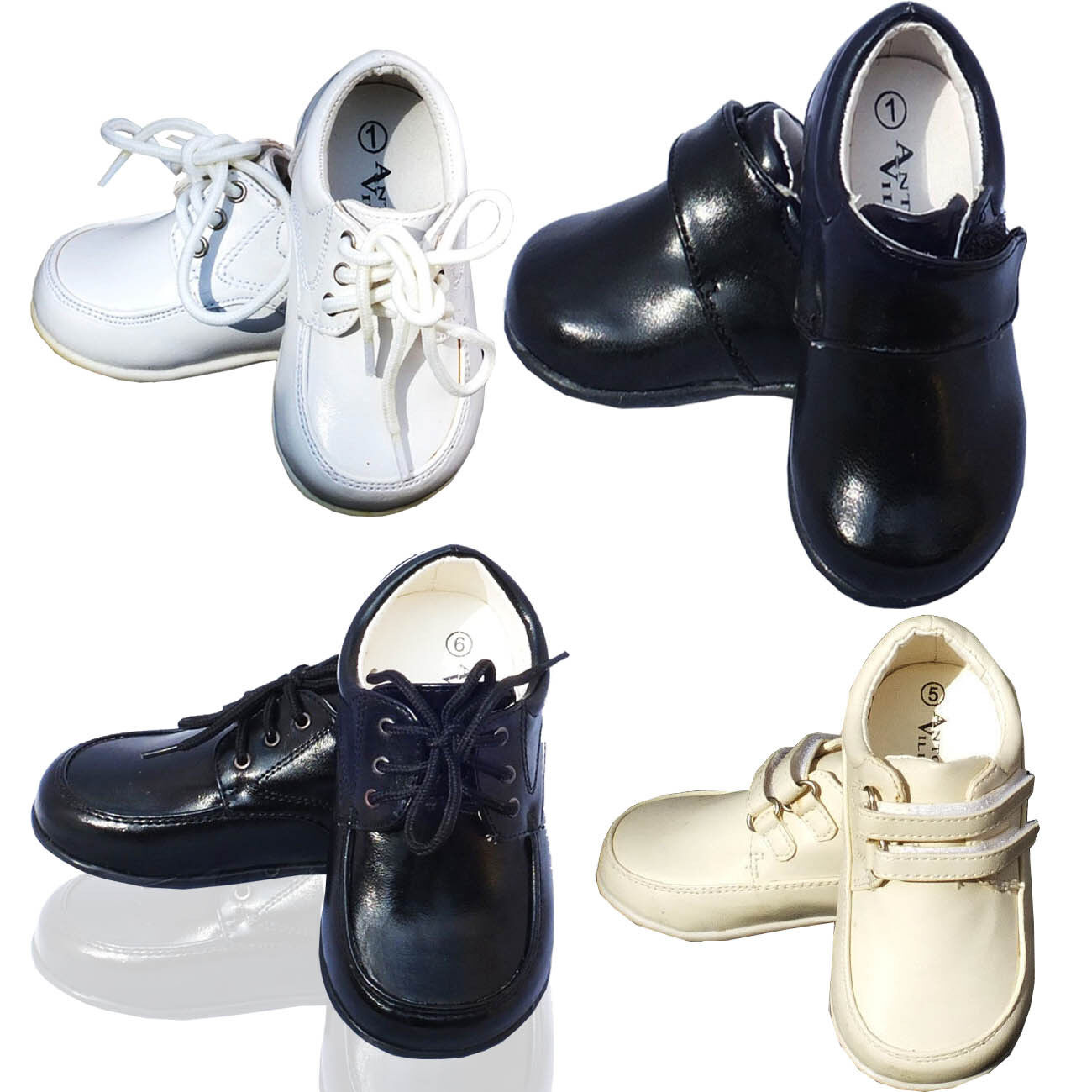 Baby Boys Formal Shoes Toddler White Ivory Black Wedding