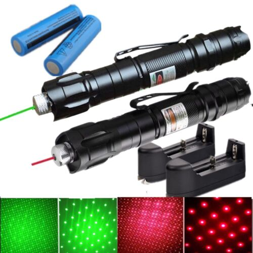 2xMilitary Visible Beam 532/650nm Green+Red Star Cap Laser Pen+Battery+Charger
