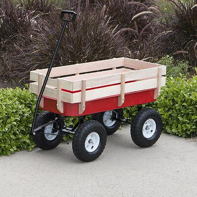 Wood Wagon ALL Terrain Children Kid Garden Cart Pulling Red w/ Wood Railing