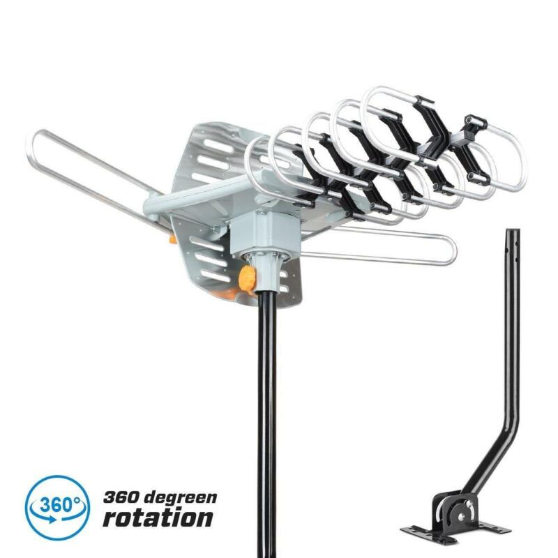 250miles TV Antenna Amplified Long Range Outdoor HD Digital 360° Rotating + Pole