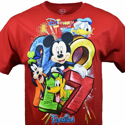 Friends Red T-shirt - Disney FLORIDA 2017 Mickey and Friends Family Men's T-Shirt Red Size L, XL, 2XL