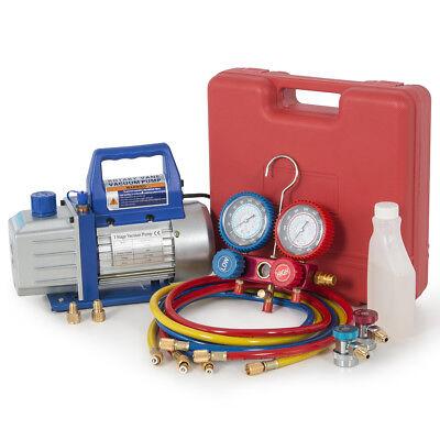 R134a Auto Car 4cfm 13hp Vacuum Pump Dual Gauge Ac Diagnostic Manifold Tester