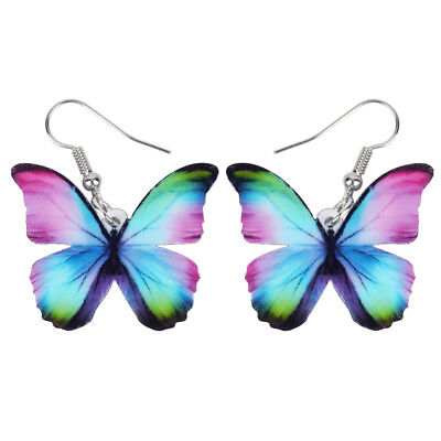 Acrylic Floral Butterfly Earrings Big Dangle Drop Insect Jewelry For Women Gifts
