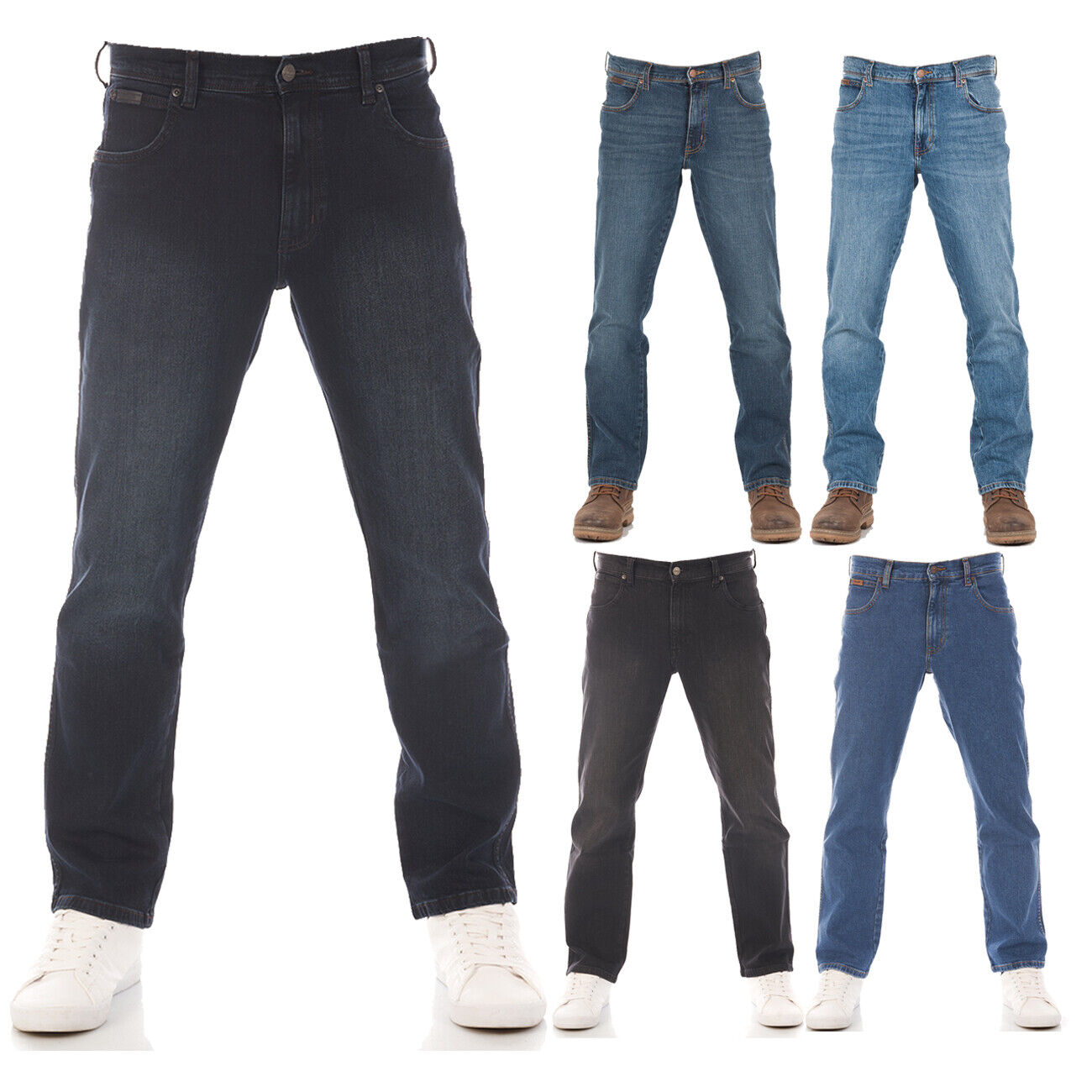 Wrangler Herren Jeans Texas Stretch Regular Straight Hose Blau Schwarz Grau