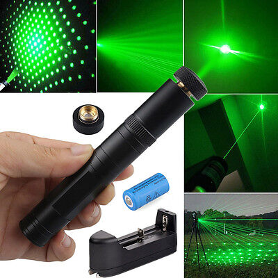 Military 5mw 532nm Green Laser Pointer Pen 2in1+16340 Battery+Charger+STAR CAP