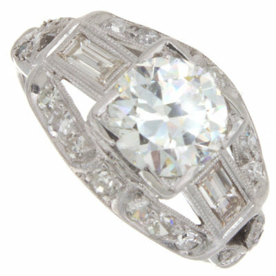 1.57ct Old European Cut GIA Certified Platinum Antique Engagement Ring