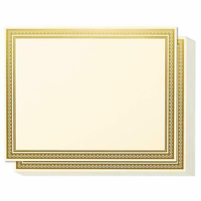Award Certificates - 50 Blank Plain Ivory Paper Sheets - Ivory With Gold Foil