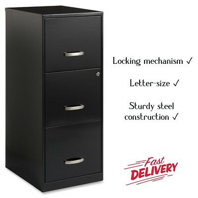 Steel 3-drawer Vertical File Cabinet Letter-size 18d X 35.5h Locking Mechanism