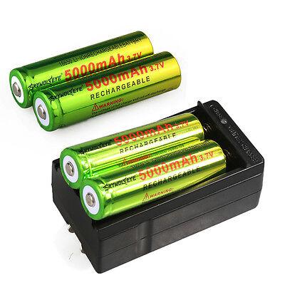 4 x SKYWOLFEYE 5000mAh 18650 Battery 3.7v Li-ion Rechargeable Battery + Charger