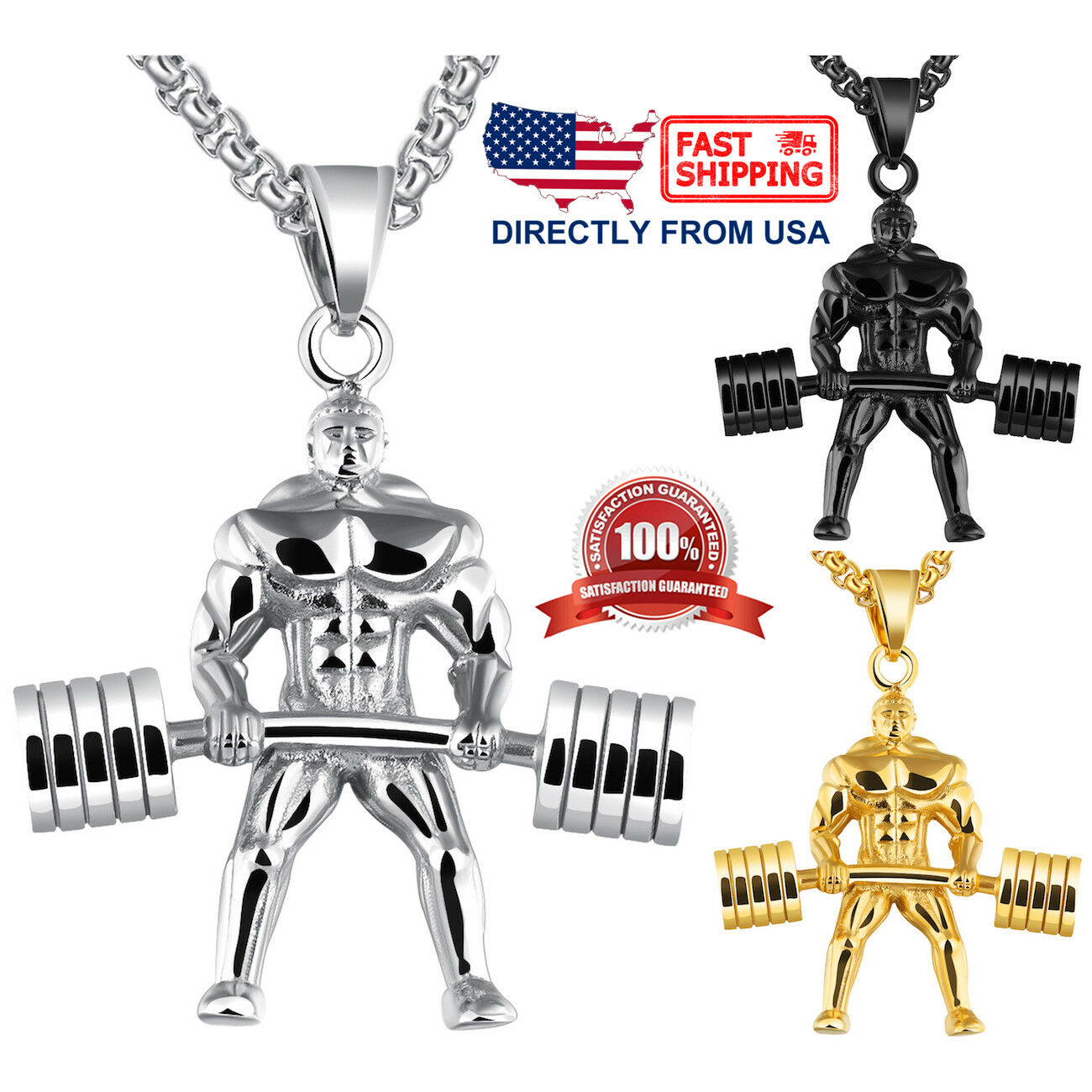 Men's Stainless Steel Body Builder Barbell Weightlifter Pendant Necklace Chains, Necklaces & Pendants