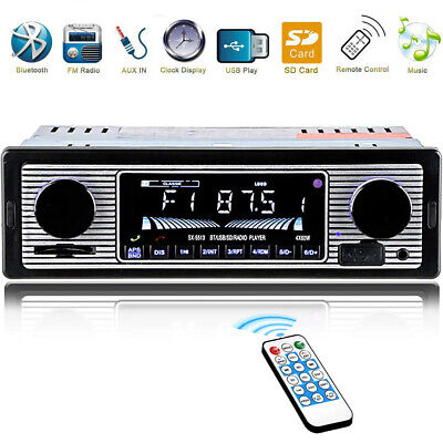 12V FM Car Stereo Radio Bluetooth 1 DIN In Dash Handsfree SD/USB AUX Head Unit Car Audio