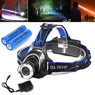 10000LM CREE XML T6 Rechargeable Led Headlamp Headlight +2X18650 Battery+Charger