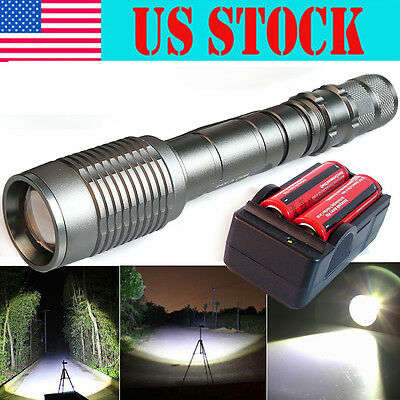 Ultrafire Tactical 12000Lumen CREE XML T6 LED Zoom Flashlight 18650 +Charger USA