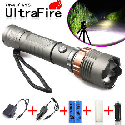 15000LM T6 LED Zoom Focus Flashlight Torch Rechargeable 18650 Battery + Charger