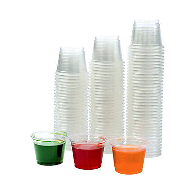 Small Clear Plastic Jello Shot Souffle Portion Condiment Sauce Dip Cups w/ Lids