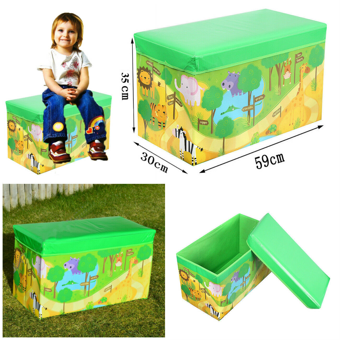 New Safari Bus Kids Folding Storage Bin Toy Box Clothes: KIDS ZOO STORAGE BOX SEAT PLAY POP UP CHEST CHILDREN BOOKS