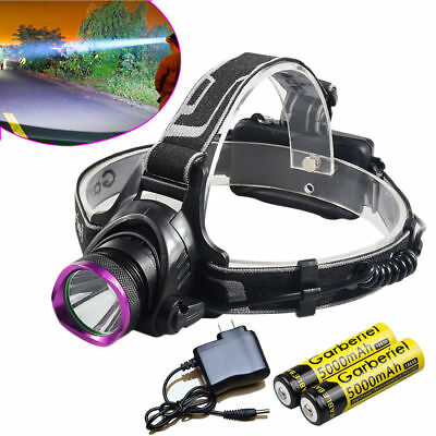 US Rechargeable 20000LM T6 LED Headlamp Headlamp+2PC 18650 Battery+AC Charger