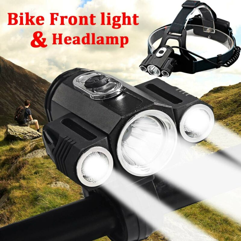 35000Lumens 3xT6 Bike Bicycle Front LED Headlamp Light Rechargeable Super Bright