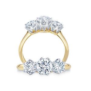 2.00ct Round Cut Diamond Trilogy Ring 18K Yellow Gold Three Stone Diamond Ring