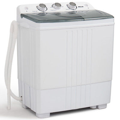 Carry-on Mini Washing Machine Compact Twin Tub 11lb Washer Spin & Dryer, White