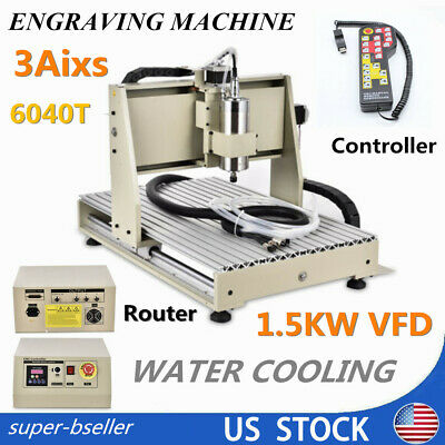 3 Axis 6040t Cnc Router Engraving Wood Cutting Milling Machine 1.5kwcontroller
