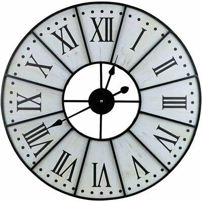 Large Decorative Wall Clock 24 Round Centurion Roman Numeral Hands Vintage