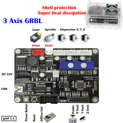 3 Axis 1.1f Grbl Control Usb Port Cnc Engraving Mill Machine Laser Control Board