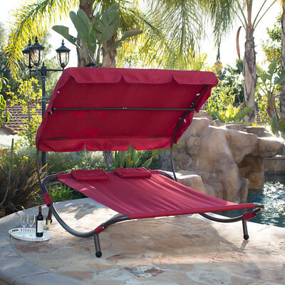 Outdoor Patio Double Wide Patio Pool Hammock Bed Lounger with Sun Shade Burgundy