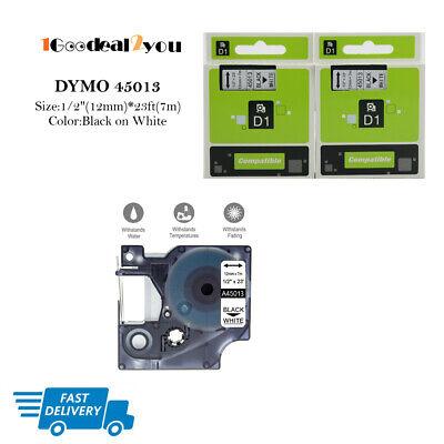 2 Pk Label Tape Compatible Dymo D1 45013 Label Maker 12mm Black On White