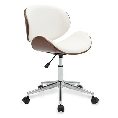 Modern Upholstered Leather Chrome Metal Base Swivel Office Desk Chair, White