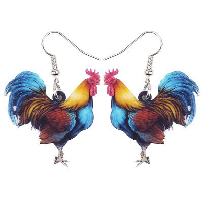 Acrylic Floral Rooster Chicken Earrings Drop Dangle Jewelry For Women Girl Charm