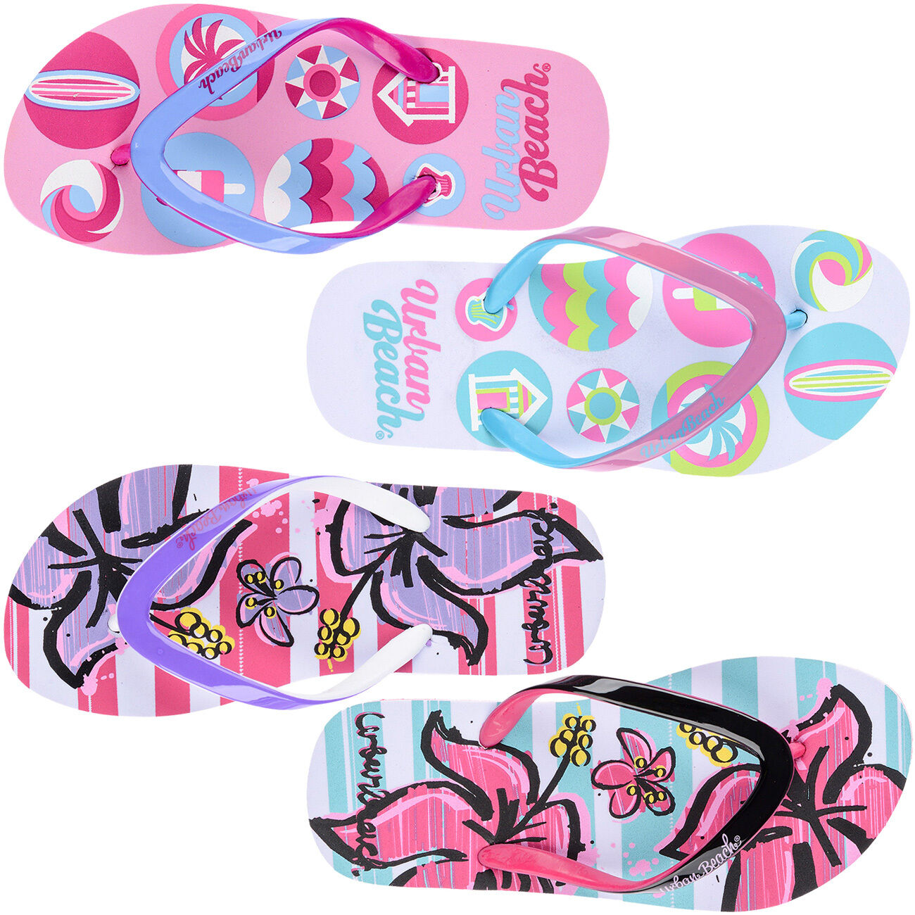 2, White Girls Childrens Printed Sandals Beach Shoe Flip Flop Multi Use
