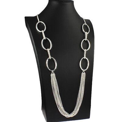 Lagenlook Kostüm Schmuck Silber Farbe lang Drapieren oval Gliederkette Halskette