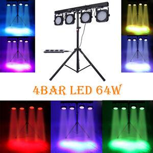4 BAR DMX LED WASH RGB PAR 64 STAGE LIGHT KIT SYSTEM LIGHTING + Foot Controller