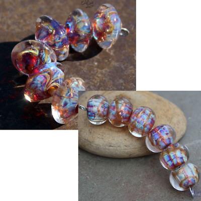 Carnevale -  Pink Handmade Glass Lampwork Beads SRA MTO - Choose Shape - Lampwork Glass Beads