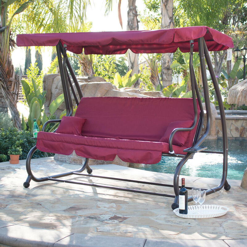Outdoor Swing / Bed Patio Adjustable Canopy Deck Porch Seat Chair w/ (2) Pillow