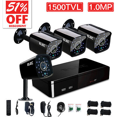 ELEC® 4 Channel 960H DVR 1500TVL Outdoor IR Home CCTV Security Camera System Kit